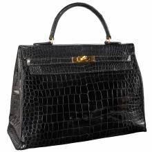 Black Crocodile Leather ''Sellier Kelly'' Bag, Hermes, Paris