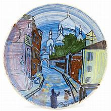 Ludwig Bemelmans (1898-1962) MONTMARTRE Painted white ceramic plate