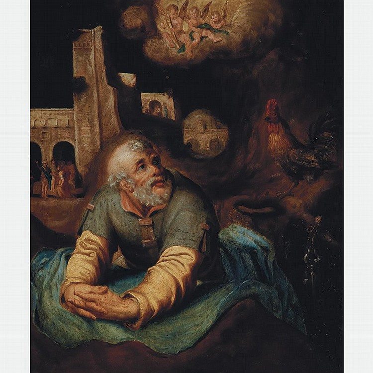 Flemish School 17th Century The Penitent Saint Peter