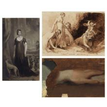 Thomas Sully American, 1783-1872 Standing Woman with Dog; Vincit Amor Omnia; Study of a Hand: Three