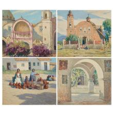 George J. Stengel American, 1872-1937 (i) The Arches (ii) The Pink Dome (iii) Indian Pottery Sellers (iv) The Pink Cathedral