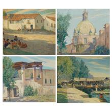 George J. Stengel American, 1872-1937 (i) Entrance to Patio (ii) Dome, Monastery (iii) Along the Quay (iv) Shadow of Cathedral