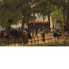 Richard Hayley Lever American/Australian 1876-1958 Band Concert In A Gazebo