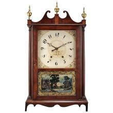 Mahogany and Eglomise Pillar and Scroll Shelf Clock