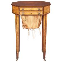 Federal Satin Birch and Inlaid Mahogany Work Table