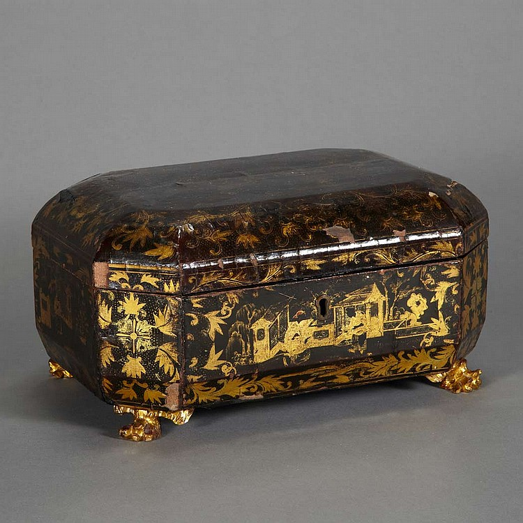 Chinese Export Lacquered Tea Caddy