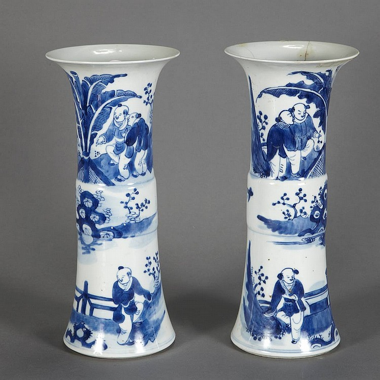 Pair Chinese Blue and White Porcelain Vases