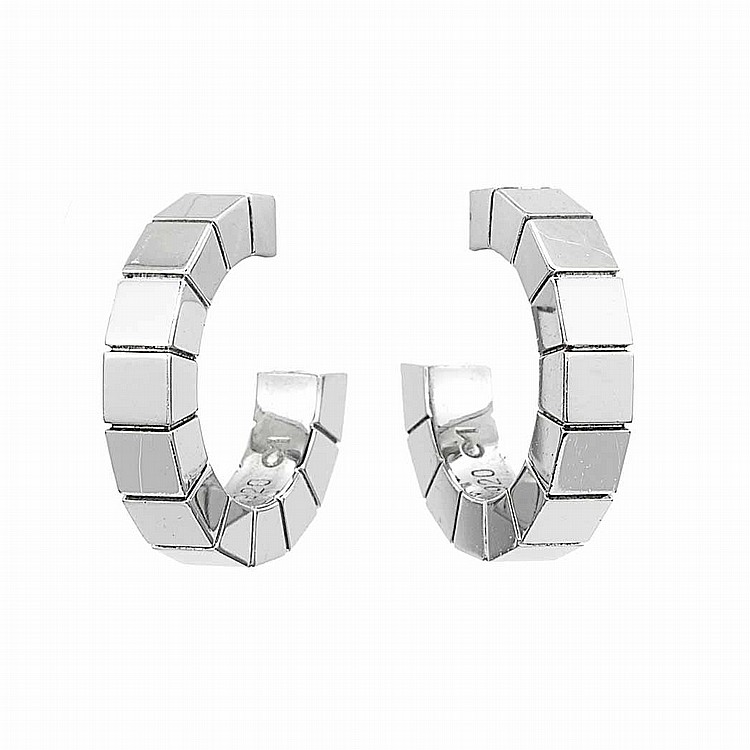 Pair of White Gold Hoop Earrings, Cartier