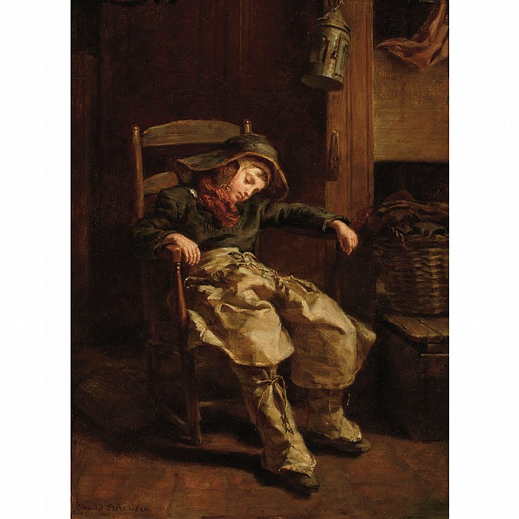 Pierre Edouard Frere French, 1819-1886 Sleeping Boy, 1860