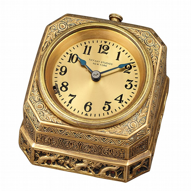 Tiffany Studios Gilt-Bronze Flat Desk Clock