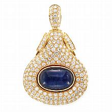 Gold, Cabochon Sapphire and Diamond Pendant
