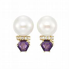 Pair of Gold, Freshwater Button Pearl, Amethyst and Diamond Earclips, Seaman Schepps
