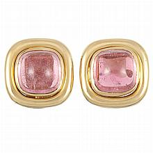 Pair of Gold and Cabochon Pink Tourmaline Earrings