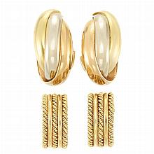 Three Pairs of Gold Earrings and Pair of Tricolor Gold Hoop Earrings