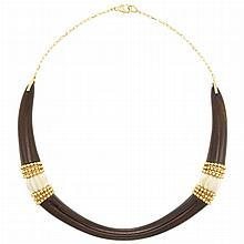 Gold, Wood and Fluted Bone Necklace