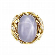 Gold, Star Sapphire and Diamond Ring
