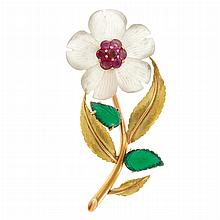 Gold, Carved Frosted Rock Crystal, Ruby and Carved Green Chrysoprase Flower Clip-Brooch, Sanz