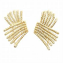 Pair of Gold 'V-Rope' Earclips, Tiffany & Co., Schlumberger