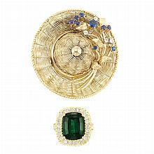 Gold, Tourmaline and Diamond Ring and Gold, Sapphire and Diamond Sun Hat Brooch, Tiffany & Co.