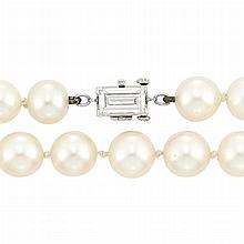 Cultured Pearl Necklace with Platinum and Diamond Clasp