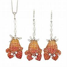 Pair of White Gold, Multicolored Orange Sapphire and Diamond Pendant-Earrings and Pendant with Chain
