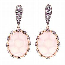 Pair of Gold, Rose Quartz, Diamond and Pink Sapphire Pendant-Earrings