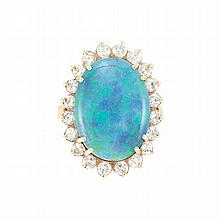 Gold, Black Opal and Diamond Ring
