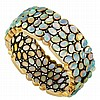 Blackened and Yellow Gold, Opal and Diamond Bangle Bracelet