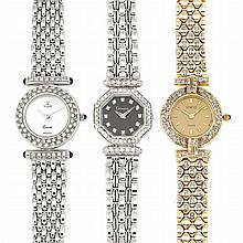 Three Lady's White and Yellow Gold and Diamond Wristwatches