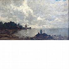 Continental School 19th Century Figures Along the Shore, Gray Day; Together with English School, 19th Century, Scotch Landscape