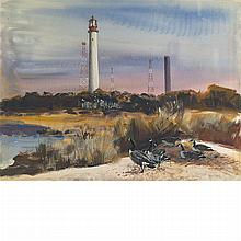 Andrew Winter American, 1893-1958 Geese and Lighthouse