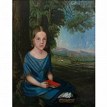 American School 19th Century Seated Girl Holding a Book in a Landscape