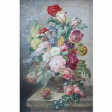 European School 19th Century Still Life with Flowers in a Vase on a Ledge