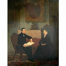 Attributed to Henry Sargent Couple in a Interior