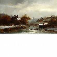 Anton Doll German, 1826-1887 Skating on a Pond