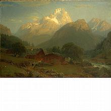 Johann Jakob Vollweider German, 1834-1891 Alpine Landscape