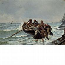 Georges Jean Marie Haquette French, 1854-1906 Pushing out to Sea