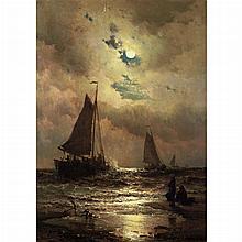 Mauritz Frederick Hendrick de Haas Dutch/American, 1832-1895 Sailboats by Moonlight, 1883