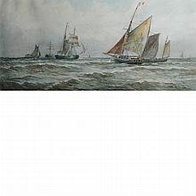 Thomas Bush Hardy British, 1842-1897 (i) Ships and Gulls in Rough Sea, 1890 (ii) French Fishing Boats, 1986