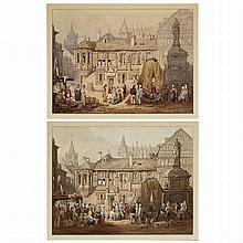 (i) Samuel Prout British, A View of La Place de la Pucelle, Rouen, (ii) After Samuel Prout, A View of La Place de la Pucelle, Rouen