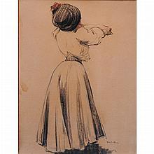 Abel Bertram French, 1871-1954 (i) Woman from Behind (ii) La Petite Bretonne