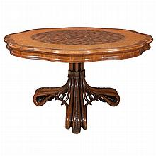 English Parquetry Inlaid Burl-Walnut Mahogany, Rosewood, Tulipwood and Satinwood Tilt-Top Center Table