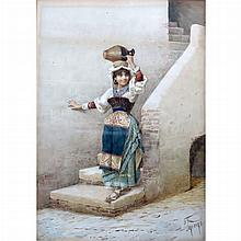 Flippo Indoni Italian, 19th Century Young Girl Carrying a Jug