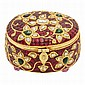 Indian High Karat Gold, Foiled-Back Stone and Gem-Set and Diamond Box