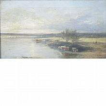 Adam Barland British, fl. 1843-1875 Watering the Cows, 1877