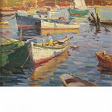 Antonio Cirino American, 1889-1983 Fishing Boats in an Inlet: Three