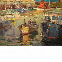 Antonio Cirino American, 1889-1983 Moored Fishing Boats