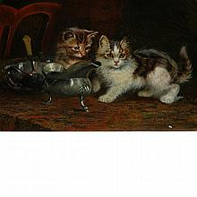 Wilson Hepple British, 1854-1937 Kittens on the Table, 1897