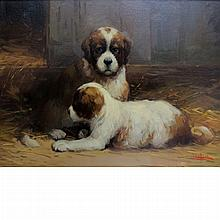 Jean Lefort French, b. 1948 St. Bernard Puppies