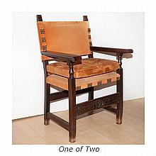 Continental Baroque Oak Armchair; Together with a Continental Baroque Style Oak Armchair.